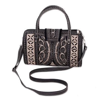 Cotton Handbag With Alabaster Hand Embroidery from Bali