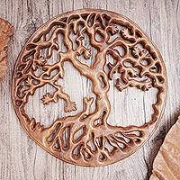 Wood wall relief panel, 'Trunyan Mystery' - Trunyan Tree Hand Carved Circular Wood Relief Wall Panel