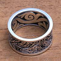 Men's sterling silver band ring, 'Sand Storm' - Men's Textured Sterling Silver Band Ring from Bali