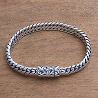 Men's chain bracelet, 'Gallant Python' - Men's Sterling Silver Snake Chain Bracelet from Bali