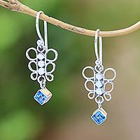 Blue topaz dangle earrings, 'Round Butterfly' - Blue Topaz Dangle Earrings from Bali