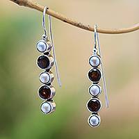 Garnet and cultured pearl drop earrings, 'Beautiful Constellation' - Garnet and Cultured Pearl Drop Earrings from Bali