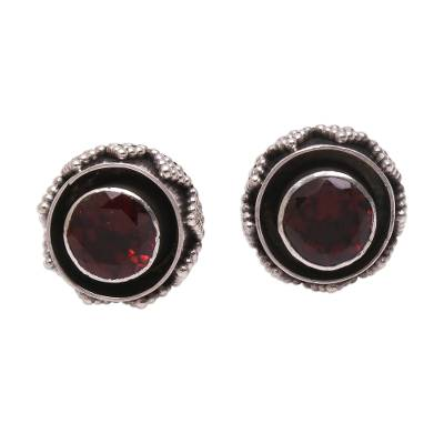 Sparkling Garnet Stud Earrings from Bali