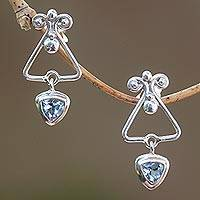 Blue topaz dangle earrings, 'Triangle Dew' - Triangular Blue Topaz Dangle Earrings from Bali