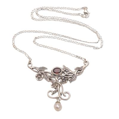 Floral Garnet and Cultured Pearl Pendant Necklace