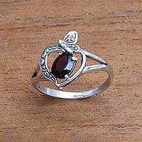 Garnet single-stone ring, 'Perched Butterfly' - Garnet Butterfly Single-Stone Ring from India