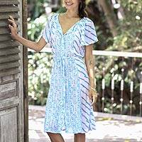 Rayon tunic-style dress, 'Azure Helix' - Printed Rayon Tunic-Style Dress in Azure from Bali