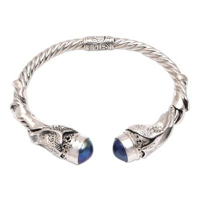 Cultural Blue Cultured Pearl Cuff Bracelet from Bali