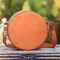 Leather sling, 'Ginger Purnama' - Handcrafted Round Leather Sling in Ginger from Java