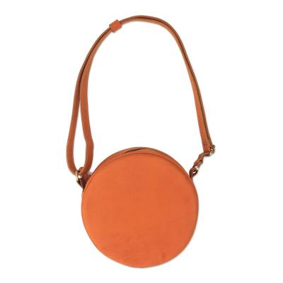 Handcrafted Round Leather Sling in Ginger from Java