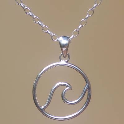 Sterling silver pendant necklace, 'Sanur Wave' - Wave Pattern Sterling Silver Pendant Necklace from Bali
