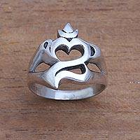 Sterling silver band ring, 'Gleaming Omkara' - Om Pattern Sterling Silver Band Ring Crafted in Bali