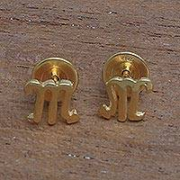 Gold plated sterling silver stud earrings, 'Golden Scorpio' - 18k Gold Plated Sterling Silver Scorpio Stud Earrings