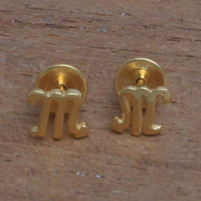 Gold plated sterling silver stud earrings, Golden Scorpio
