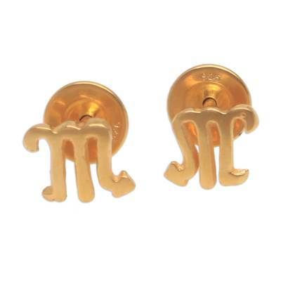 18k Gold Plated Sterling Silver Scorpio Stud Earrings