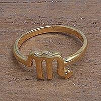 Gold plated sterling silver band ring, 'Golden Scorpio' - 18k Gold Plated Sterling Silver Scorpio Band Ring