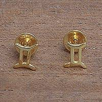 Featured review for Gold plated sterling silver stud earrings, Golden Gemini