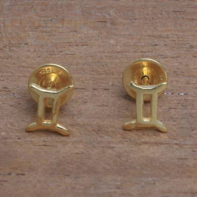 Gold plated sterling silver stud earrings, Golden Gemini
