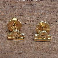 Gold plated sterling silver stud earrings,