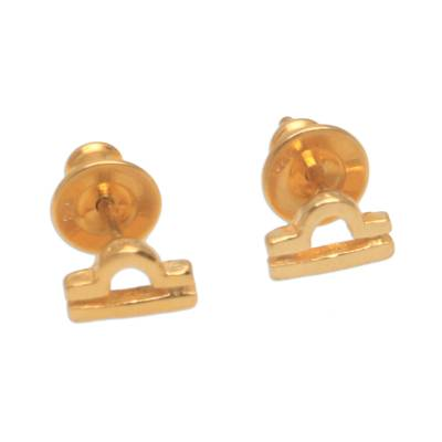 18k Gold Plated Sterling Silver Libra Stud Earrings