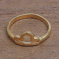 Gold plated sterling silver cocktail ring, 'Golden Libra' - 18k Gold Plated Sterling Silver Libra Cocktail Ring