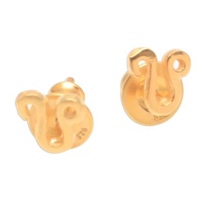 18k Gold Plated Sterling Silver Leo Stud Earrings