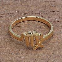 Gold plated sterling silver cocktail ring, 'Golden Virgo' - 18k Gold Plated Sterling Silver Virgo Cocktail Ring