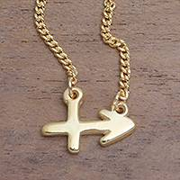 Gold plated sterling silver pendant necklace, 'Golden Sagittarius' - 18k Gold Plated Sterling Silver Sagittarius Pendant Necklace