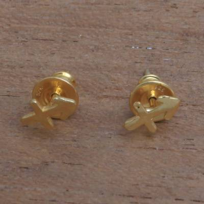 Gold plated sterling silver stud earrings, Golden Sagittarius