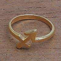 Gold plated sterling silver band ring, 'Golden Sagittarius' - 18k Gold Plated Sterling Silver Sagittarius Band Ring