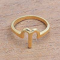 Gold plated sterling silver cocktail ring, 'Golden Aries' - 18k Gold Plated Sterling Silver Aries Cocktail Ring