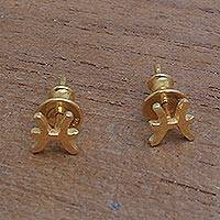 Gold plated sterling silver stud earrings, 'Golden Pisces' - 18k Gold Plated Sterling Silver Pisces Stud Earrings