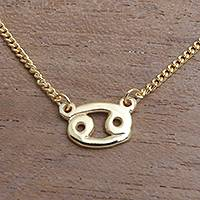 Gold plated sterling silver pendant necklace, 'Golden Cancer' - 18k Gold Plated Sterling Silver Cancer Pendant Necklace