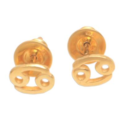 18k Gold Plated Sterling Silver Cancer Stud Earrings