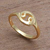 Gold plated sterling silver band ring, 'Golden Cancer' - 18k Gold Plated Sterling Silver Cancer Band Ring