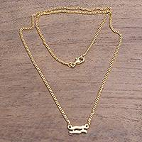 Gold plated sterling silver pendant necklace, 'Golden Aquarius' - 18k Gold Plated Sterling Silver Aquarius Pendant Necklace