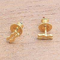 Gold plated sterling silver stud earrings- 'Golden Aquarius' (Indonesia)