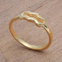 Gold plated sterling silver band ring, 'Golden Aquarius' - 18k Gold Plated Sterling Silver Aquarius Band Ring