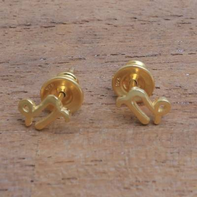 Gold plated sterling silver stud earrings, 'Golden Capricorn' - 18k Gold Plated Sterling Silver Capricorn Stud Earrings