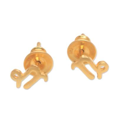 18k Gold Plated Sterling Silver Capricorn Stud Earrings