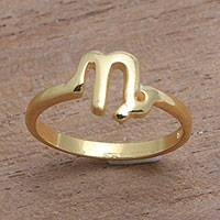 Gold plated sterling silver cocktail ring, 'Golden Capricorn' - 18k Gold Plated Sterling Silver Capricorn Cocktail Ring
