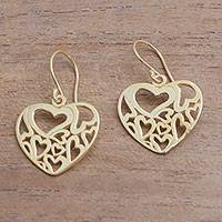Gold plated sterling silver dangle earrings, 'Full-Hearted' - Heart Motif 18k Gold Plated Sterling Silver Dangle Earrings
