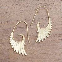 Gold plated sterling silver half-hoop earrings, 'Wings at Dawn' - 18k Gold Plated Sterling Silver Wing Half-Hoop Earrings
