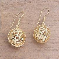 Gold plated sterling silver dangle earrings, 'Omkara Orbs' - 18k Gold Plated Sterling Silver Om Dangle Earrings