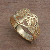 Gold plated sterling silver band ring, 'Lovely Trees' - Tree-Themed Gold Plated Sterling Silver Band Ring from Bali