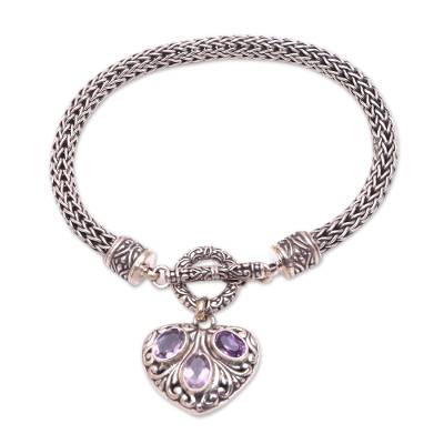 Heart-Shaped Amethyst Charm Bracelet from Bali