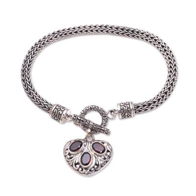 Heart-Shaped Garnet Charm Bracelet from Bali