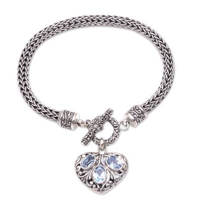 Heart-Shaped Blue Topaz Charm Bracelet from Bali