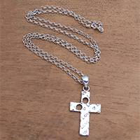 Sterling silver pendant necklace, 'Lovely Cross' - Love-Themed Sterling Silver Cross Necklace from Bali