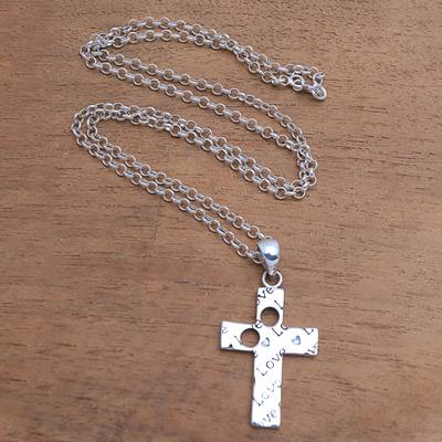 Sterling silver pendant necklace, Lovely Cross